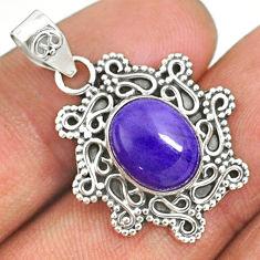 925 silver 4.34cts natural purple charoite (siberian) oval shape pendant r85091