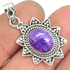 925 silver 4.75cts natural purple charoite (siberian) oval shape pendant r85130