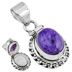 925 silver 5.12cts natural purple charoite (siberian) poison box pendant r55634