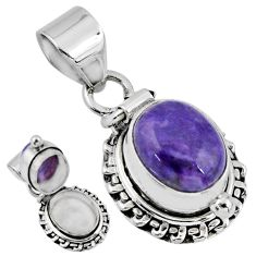 925 silver 5.15cts natural purple charoite (siberian) poison box pendant r55639