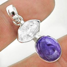 925 silver 9.39cts natural purple charoite herkimer diamond pendant t49158