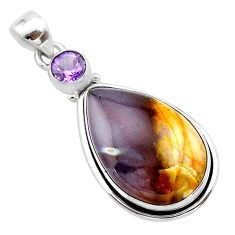 925 silver 17.15cts natural purple grape chalcedony amethyst pendant t22919