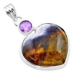 925 silver 20.62cts heart purple grape chalcedony amethyst pendant t23104