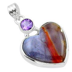 925 silver 18.23cts heart purple grape chalcedony amethyst pendant t23117