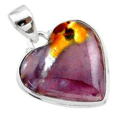 925 silver 16.62cts heart purple grape chalcedony heart pendant t22923
