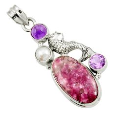925 silver 19.12cts natural purple lepidolite amethyst pearl fish pendant d42867