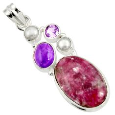 Clearance Sale- 925 silver 17.31cts natural purple lepidolite amethyst pearl pendant d42864