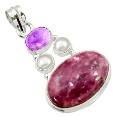 925 silver 18.54cts natural purple lepidolite amethyst pearl pendant d42871