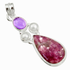 Clearance Sale- 925 silver 16.24cts natural purple lepidolite pear amethyst pearl pendant d42875