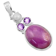 925 silver 18.70cts natural purple phosphosiderite (hope stone) pendant d43893
