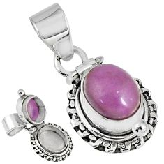 925 silver 4.38cts natural purple phosphosiderite poison box pendant r55611