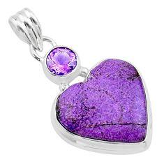 925 silver 12.18cts heart purple purpurite stichtite amethyst pendant t23084