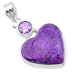 925 silver 14.12cts heart purple purpurite stichtite amethyst pendant t23086