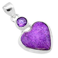 925 silver 12.18cts heart purple purpurite stichtite amethyst pendant t23090