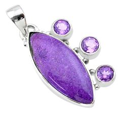 925 silver 13.55cts natural purple purpurite stichtite amethyst pendant t30424