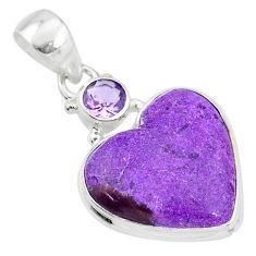 925 silver 10.67cts natural purple purpurite stichtite amethyst pendant t4128