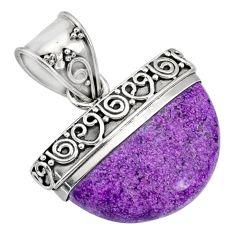 925 silver 12.58cts natural purple purpurite stichtite fancy pendant r85024