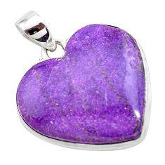 925 silver 18.65cts heart purple purpurite stichtite heart pendant t23004