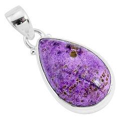 925 silver 12.22cts natural purple purpurite stichtite pear pendant r94435