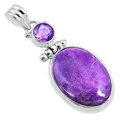 925 silver 14.12cts natural purple stichtite oval amethyst pendant r66135