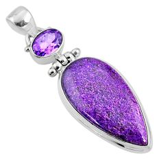 925 silver 17.22cts natural purple stichtite pear amethyst pendant r66132