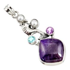 925 silver 26.16cts natural purple sugilite amethyst pearl fish pendant d44235
