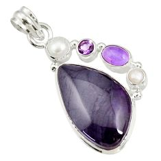 Clearance Sale- 925 silver 22.49cts natural purple sugilite amethyst pearl pendant d44238