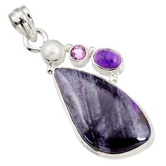 925 silver 25.00cts natural purple sugilite amethyst pearl pendant d44239