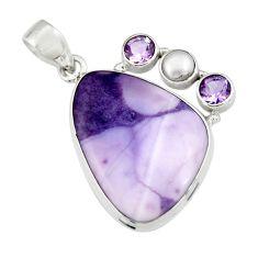 925 silver 16.06cts natural purple tiffany stone amethyst pearl pendant r19608