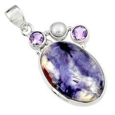 925 silver 17.95cts natural purple tiffany stone amethyst pearl pendant r19611