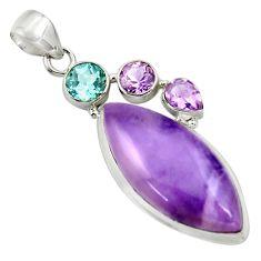 925 silver 24.00cts natural purple tiffany stone amethyst topaz pendant r39110