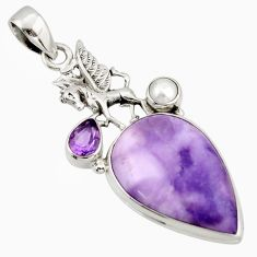 925 silver 19.23cts natural purple tiffany stone amethyst unicorn pendant d47384