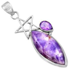925 silver 17.57cts natural purple tiffany stone star of david pendant r39113