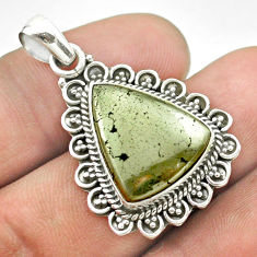 925 silver 13.77cts natural pyrite in magnetite (healer's gold) pendant t53394