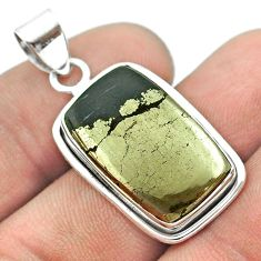 925 silver 14.60cts natural pyrite in magnetite (healer's gold) pendant t53710