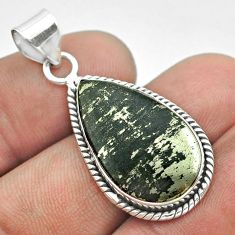 925 silver 11.68cts natural pyrite in magnetite (healer's gold) pendant t53717