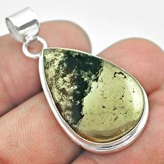 925 silver 19.23cts natural pyrite in magnetite (healer's gold) pendant t53720