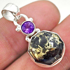 925 silver 6.61cts natural pyrite in magnetite purple hexagon pendant t46493