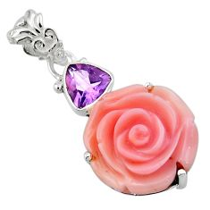 925 silver 15.68cts natural queen conch shell flower amethyst pendant r48824