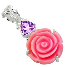 925 silver 15.68cts natural queen conch shell flower amethyst pendant r48828