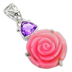 925 silver 15.68cts natural queen conch shell flower amethyst pendant r48831