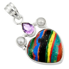 Clearance Sale- 925 silver 11.73cts natural rainbow calsilica amethyst pearl pendant d44759
