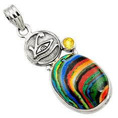 Clearance Sale- 925 silver 18.46cts natural rainbow calsilica citrine horse eye pendant d44750