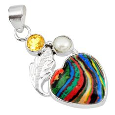 Clearance Sale- 925 silver 11.17cts natural rainbow calsilica citrine pearl heart pendant d39489