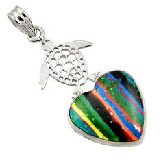 925 silver 15.02cts natural rainbow calsilica heart turtle pendant d44756