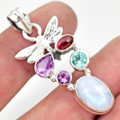 925 silver 10.37cts natural rainbow moonstone amethyst dragonfly pendant d43304