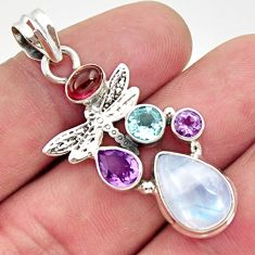 925 silver 9.04cts natural rainbow moonstone amethyst dragonfly pendant d43353