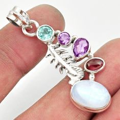 925 silver 10.02cts natural rainbow moonstone amethyst feather pendant d43337