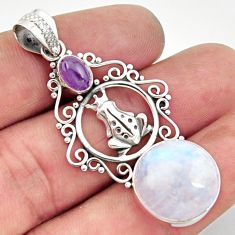 925 silver 15.47cts natural rainbow moonstone amethyst frog pendant d43315