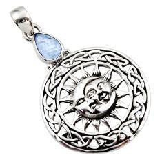 925 silver 2.68cts natural rainbow moonstone crescent moon star pendant d45660